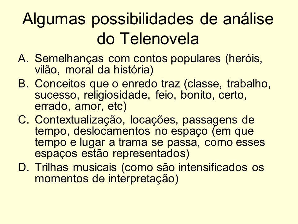 Algumas possibilidades de análise do Telenovela A.Semelhanças com contos populares (heróis, vilão, moral da história) B.Conceitos que o enredo traz (c