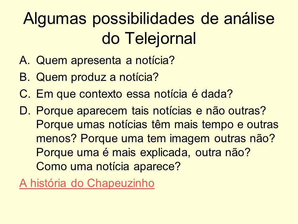 Algumas possibilidades de análise do Telejornal A.Quem apresenta a notícia? B.Quem produz a notícia? C.Em que contexto essa notícia é dada? D.Porque a