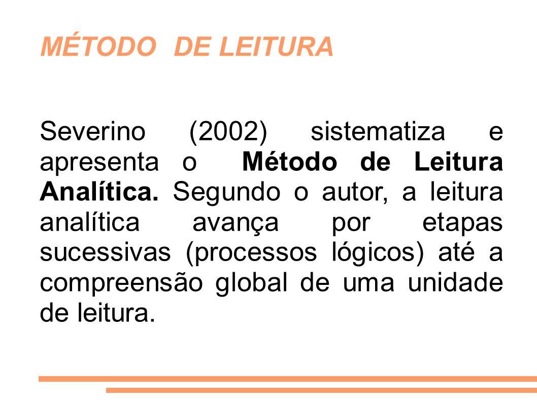 MÉTODO DE LEITURA Severino (2002) sistematiza e apresenta o Método de Leitura Analítica. Segundo o autor, a leitura analítica avança por etapas sucess