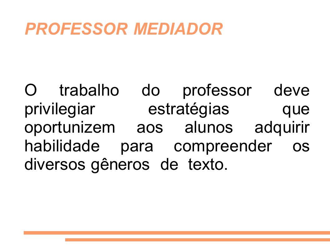 O trabalho do professor deve privilegiar estratégias que oportunizem aos alunos adquirir habilidade para compreender os diversos gêneros de texto. PRO