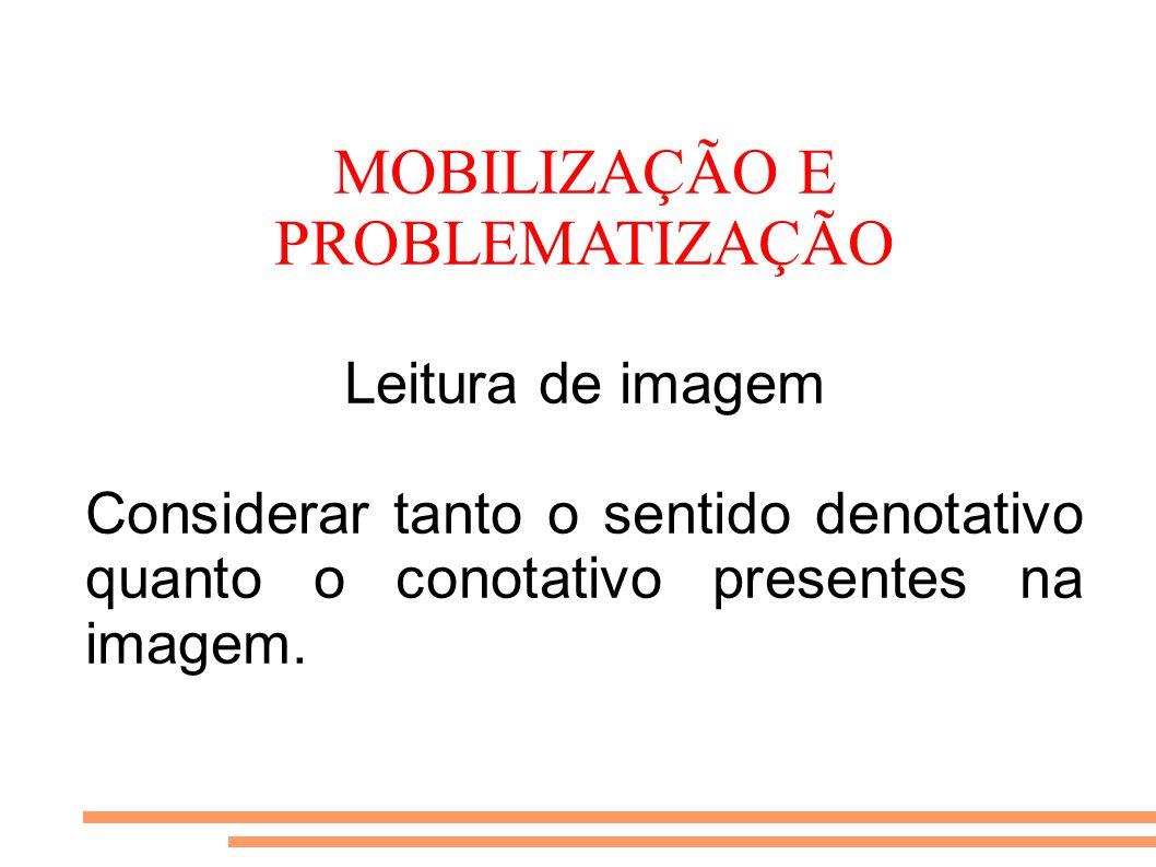 MOBILIZAÇÃO E PROBLEMATIZAÇÃO Leitura de imagem Considerar tanto o sentido denotativo quanto o conotativo presentes na imagem.