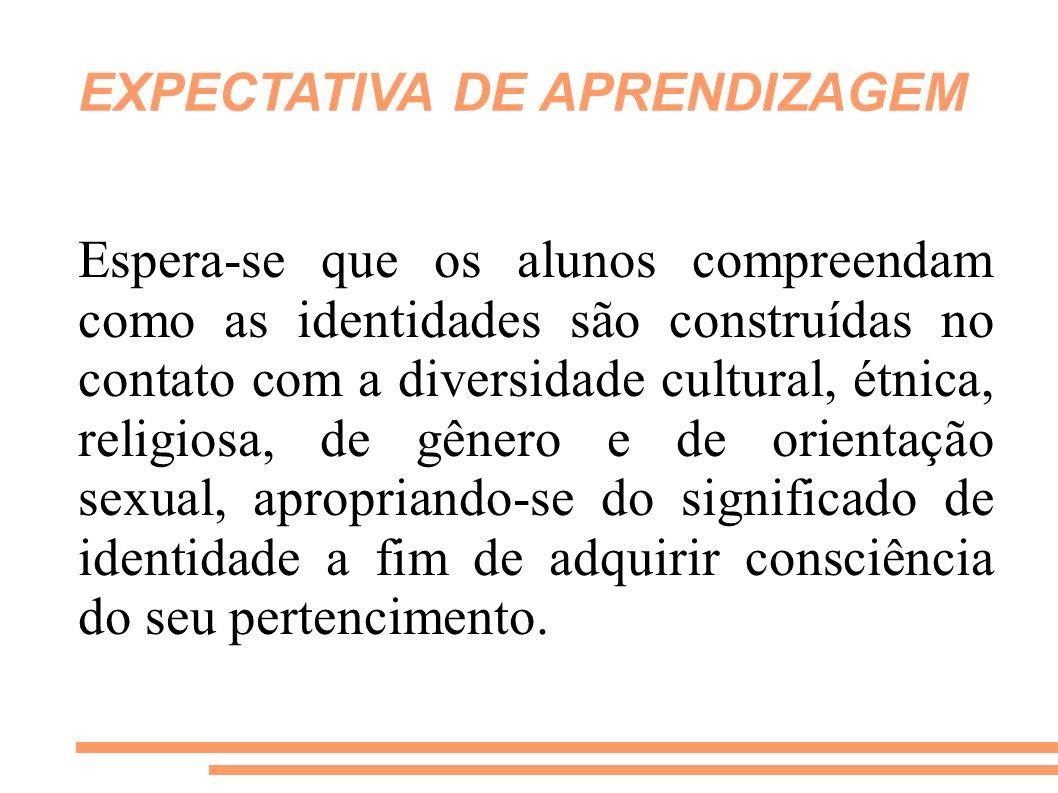 EXPECTATIVA DE APRENDIZAGEM Espera-se que os alunos compreendam como as identidades são construídas no contato com a diversidade cultural, étnica, rel