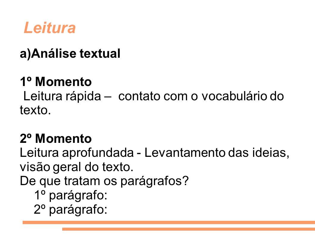 Leitura a)Análise textual 1º Momento Leitura rápida – contato com o vocabulário do texto. 2º Momento Leitura aprofundada - Levantamento das ideias, vi