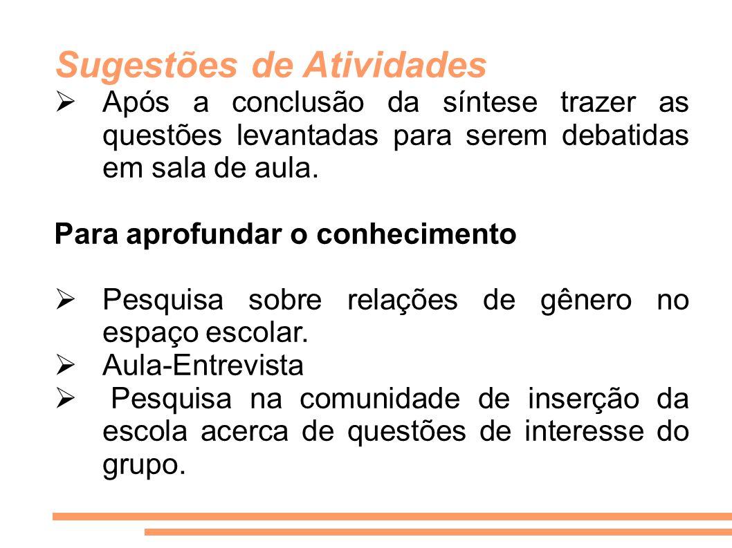 Sugestões de Atividades Após a conclusão da síntese trazer as questões levantadas para serem debatidas em sala de aula. Para aprofundar o conhecimento