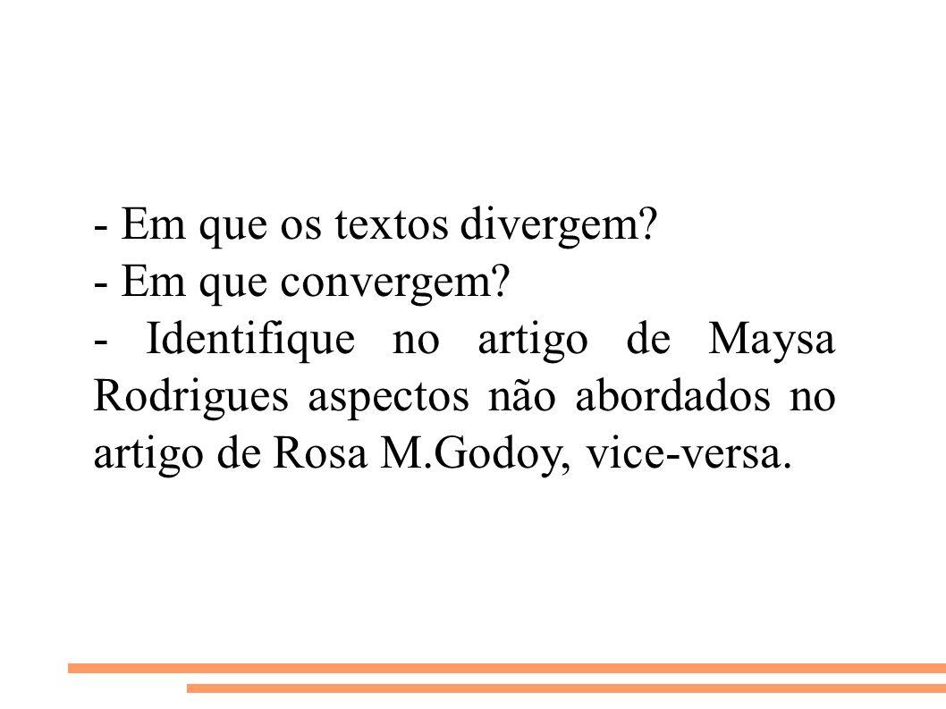 - Em que os textos divergem? - Em que convergem? - Identifique no artigo de Maysa Rodrigues aspectos não abordados no artigo de Rosa M.Godoy, vice-ver