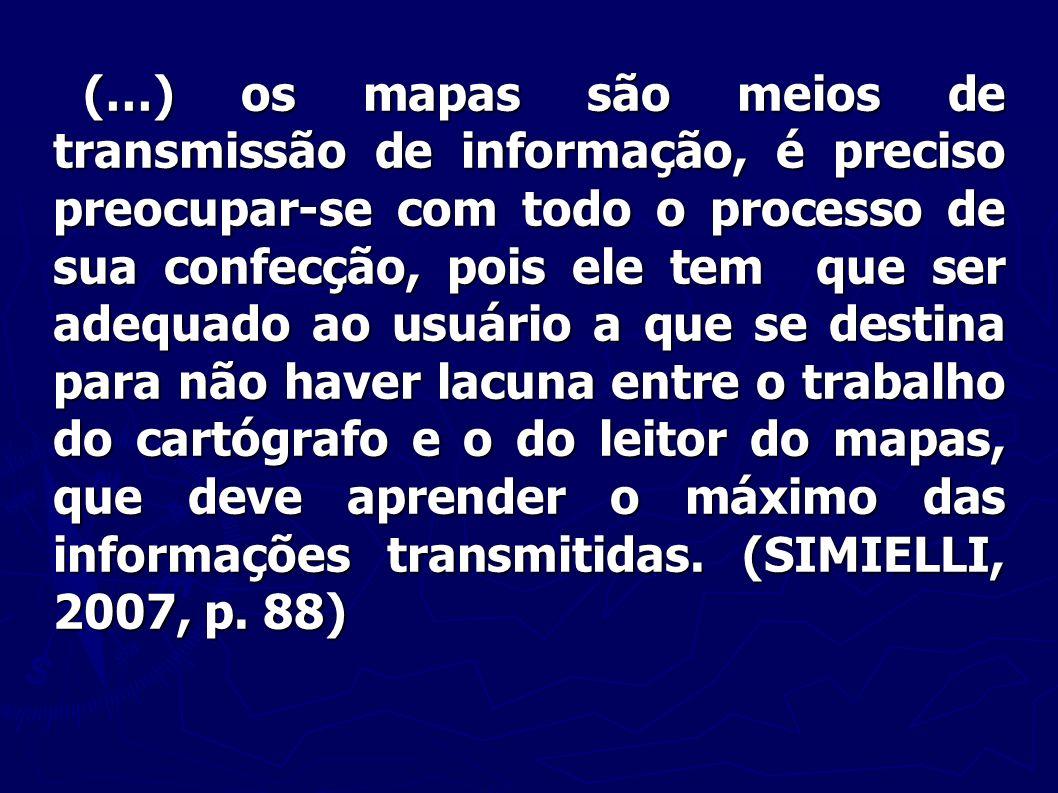 (…) os mapas são meios de transmissão de informação, é preciso preocupar-se com todo o processo de sua confecção, pois ele tem que ser adequado ao usu