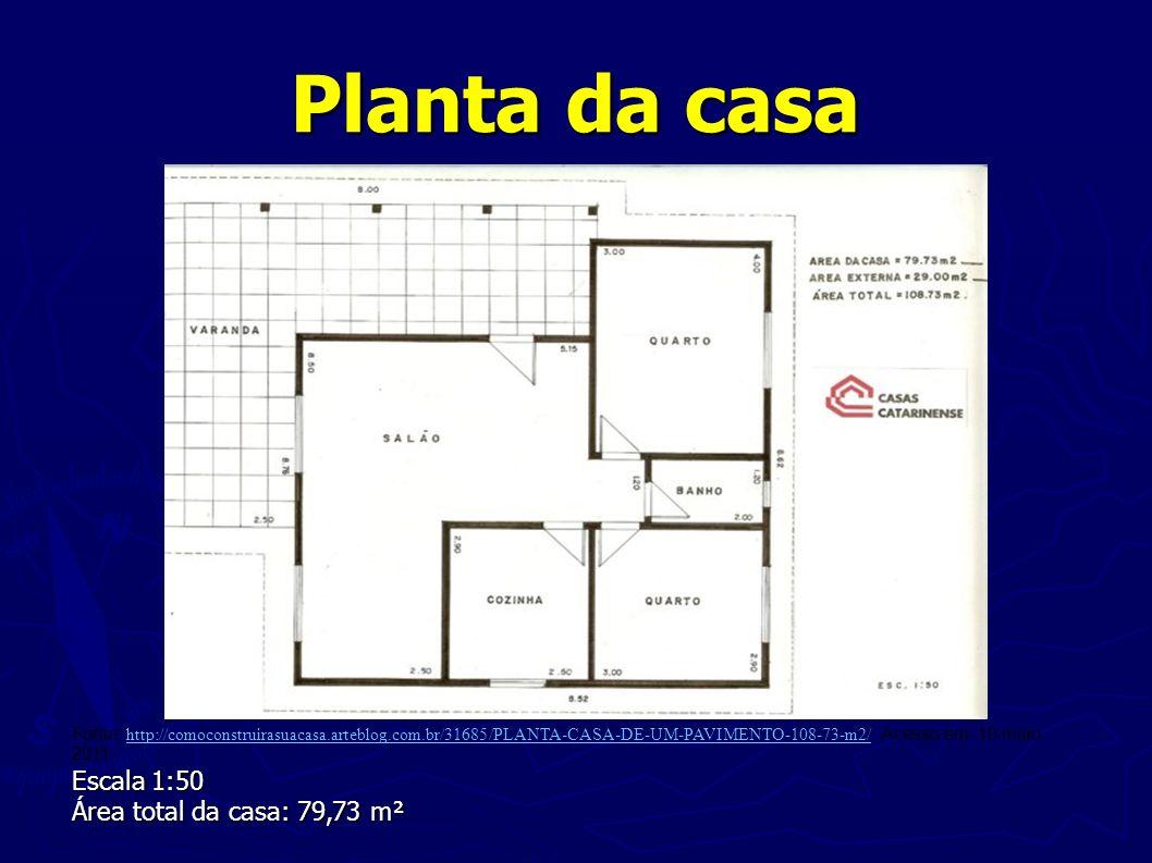 Planta da casa Fonte: http://comoconstruirasuacasa.arteblog.com.br/31685/PLANTA-CASA-DE-UM-PAVIMENTO-108-73-m2/. Acesso em: 10 maio 2011. http://comoc