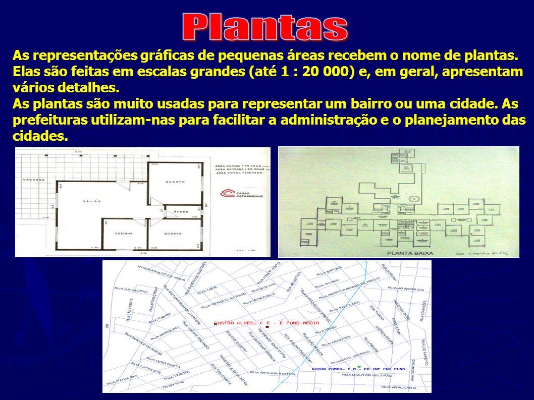 As representações gráficas de pequenas áreas recebem o nome de plantas. Elas são feitas em escalas grandes (até 1 : 20 000) e, em geral, apresentam vá
