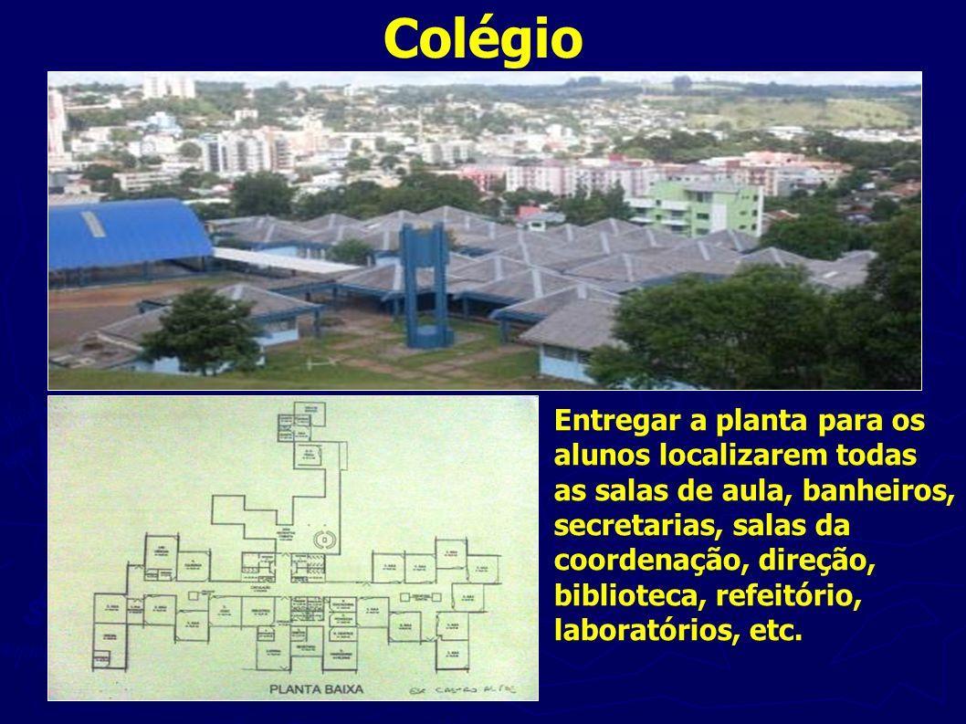 Colégio Entregar a planta para os alunos localizarem todas as salas de aula, banheiros, secretarias, salas da coordenação, direção, biblioteca, refeit