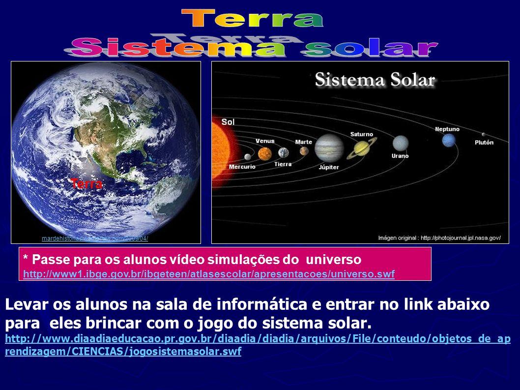 . Terra mardehistorias.wordpress.com/2009/04/ * Passe para os alunos vídeo simulações do universo http://www1.ibge.gov.br/ibgeteen/atlasescolar/aprese