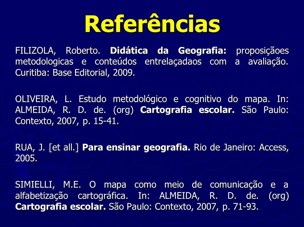 Referências FILIZOLA, Roberto. Didática da Geografia: proposiçãoes metodologicas e conteúdos entrelaçadaos com a avaliação. Curitiba: Base Editorial,