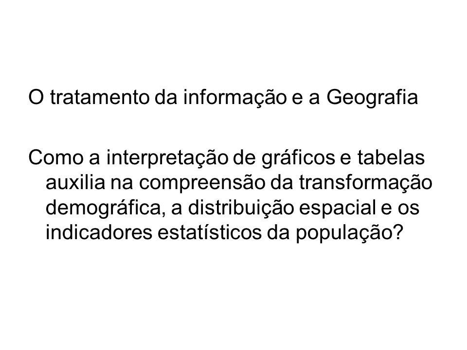 O tratamento da informação e a Geografia Como a interpretação de gráficos e tabelas auxilia na compreensão da transformação demográfica, a distribuiçã