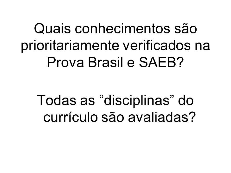 Quais conhecimentos são prioritariamente verificados na Prova Brasil e SAEB? Todas as disciplinas do currículo são avaliadas?