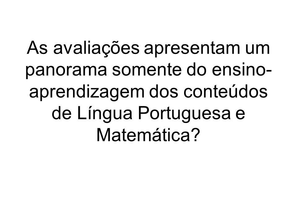 As avaliações apresentam um panorama somente do ensino- aprendizagem dos conteúdos de Língua Portuguesa e Matemática?