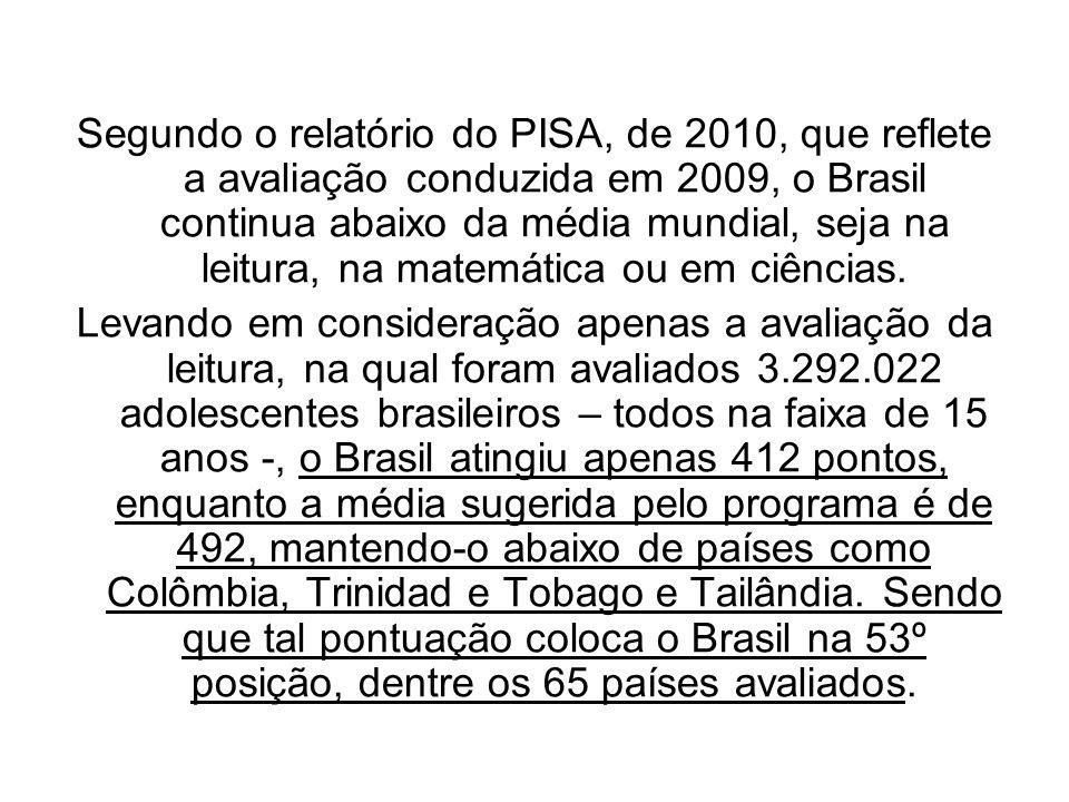Segundo o relatório do PISA, de 2010, que reflete a avaliação conduzida em 2009, o Brasil continua abaixo da média mundial, seja na leitura, na matemá