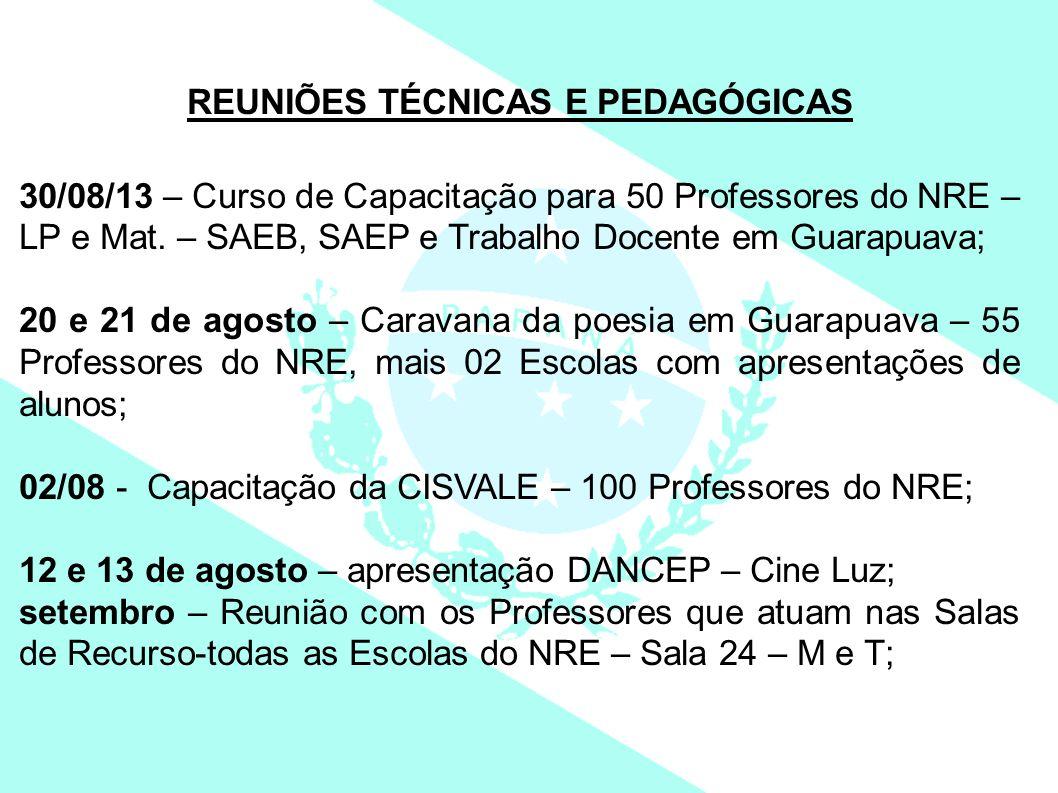 REUNIÕES TÉCNICAS E PEDAGÓGICAS 30/08/13 – Curso de Capacitação para 50 Professores do NRE – LP e Mat. – SAEB, SAEP e Trabalho Docente em Guarapuava;