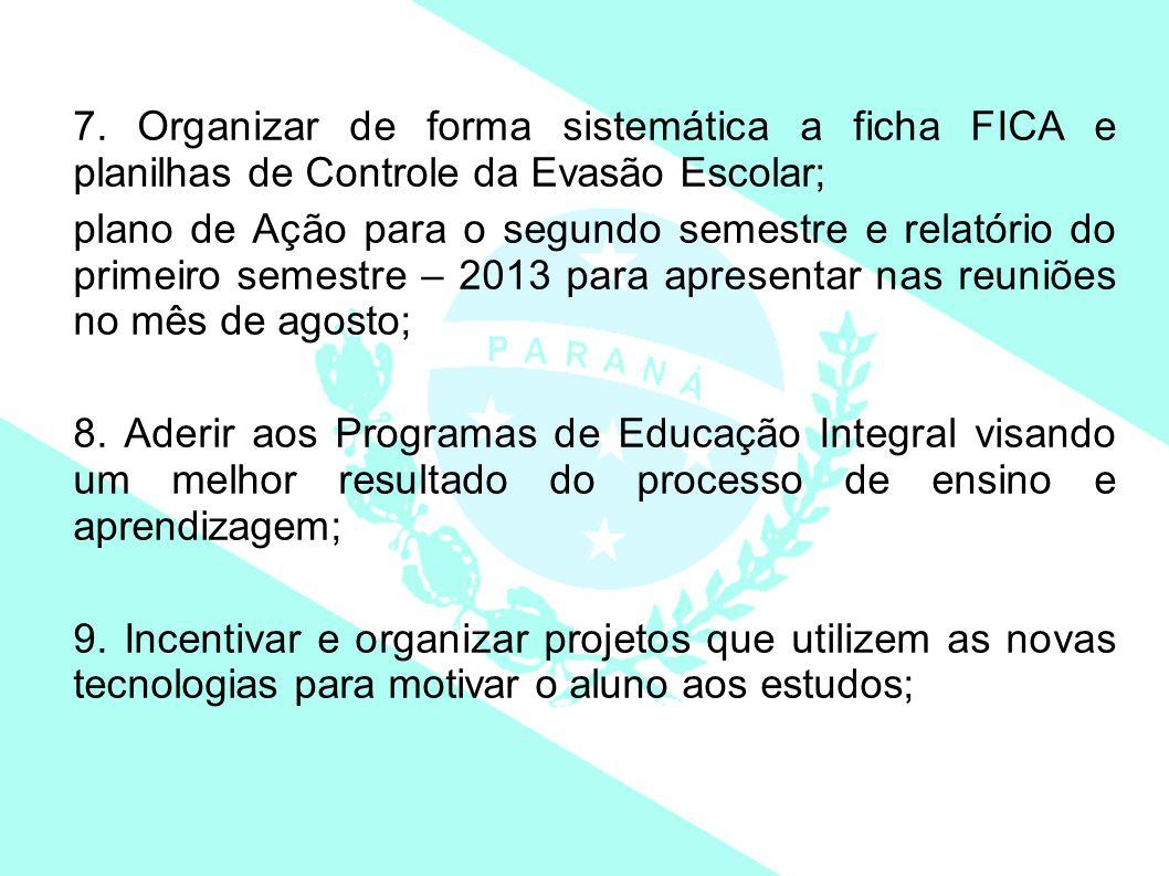 7. Organizar de forma sistemática a ficha FICA e planilhas de Controle da Evasão Escolar; plano de Ação para o segundo semestre e relatório do primeir