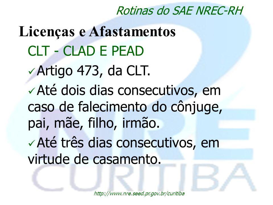 http://www.nre.seed.pr.gov.br/curitiba Rotinas do SAE NREC-RH Licenças e Afastamentos CLT - CLAD E PEAD Artigo 473, da CLT. Até dois dias consecutivos