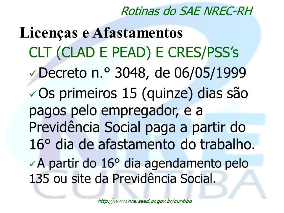 http://www.nre.seed.pr.gov.br/curitiba Rotinas do SAE NREC-RH Licenças e Afastamentos CLT (CLAD E PEAD) E CRES/PSSs Decreto n.° 3048, de 06/05/1999 Os