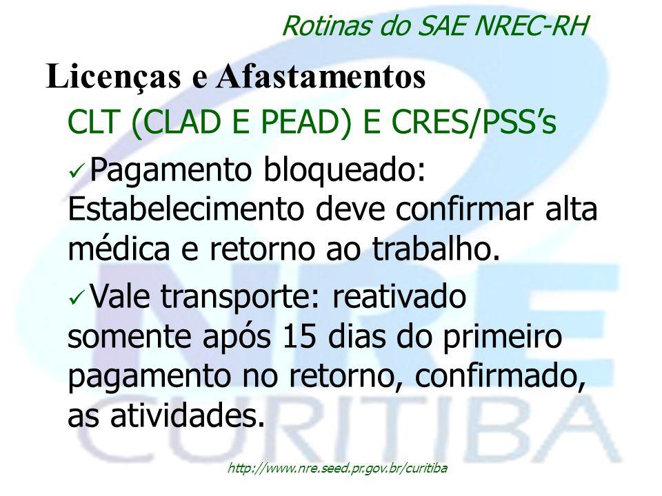 http://www.nre.seed.pr.gov.br/curitiba Rotinas do SAE NREC-RH Licenças e Afastamentos CLT (CLAD E PEAD) E CRES/PSSs Pagamento bloqueado: Estabelecimen