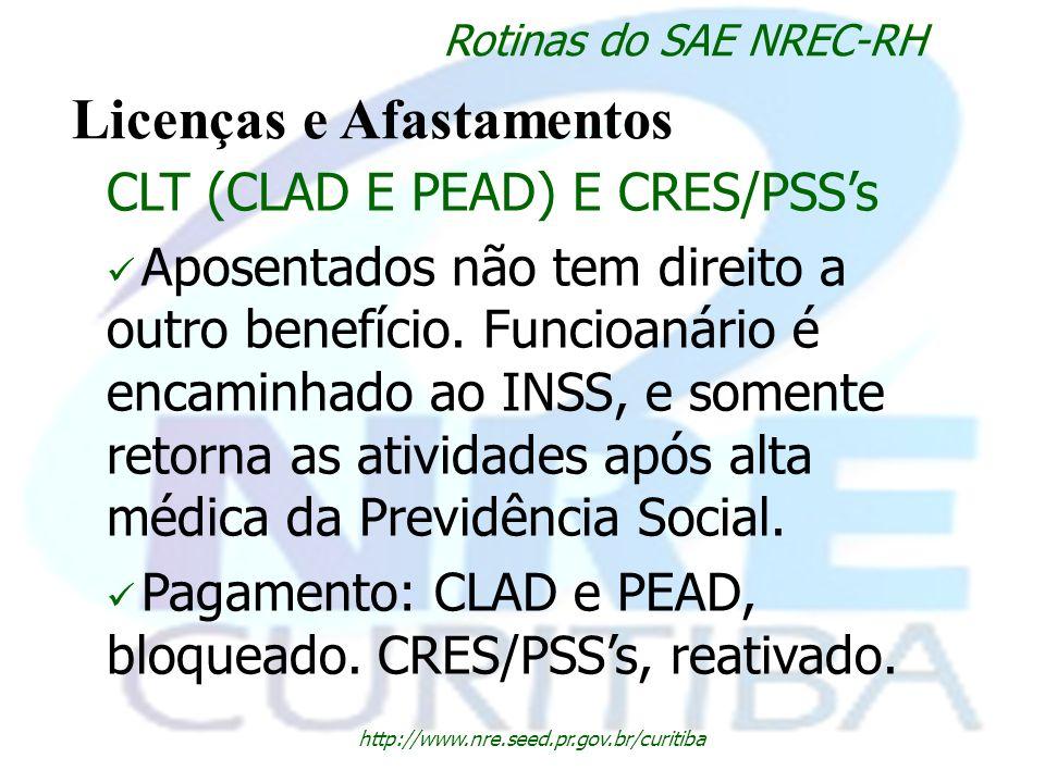 http://www.nre.seed.pr.gov.br/curitiba Rotinas do SAE NREC-RH Licenças e Afastamentos CLT (CLAD E PEAD) E CRES/PSSs Aposentados não tem direito a outr