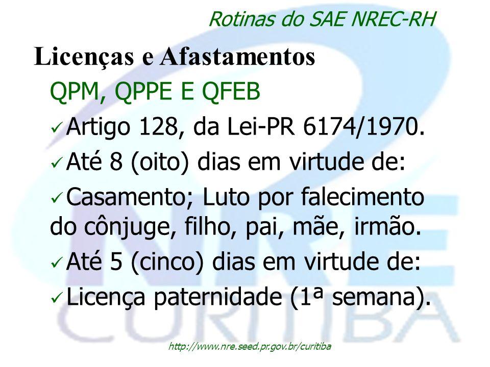 http://www.nre.seed.pr.gov.br/curitiba Rotinas do SAE NREC-RH Licenças e Afastamentos QPM, QPPE E QFEB Artigo 128, da Lei-PR 6174/1970. Até 8 (oito) d