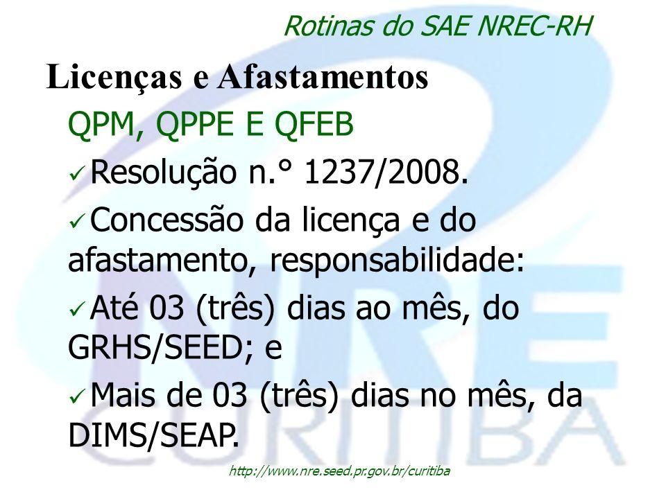 http://www.nre.seed.pr.gov.br/curitiba Rotinas do SAE NREC-RH Licenças e Afastamentos QPM, QPPE E QFEB Resolução n.° 1237/2008. Concessão da licença e
