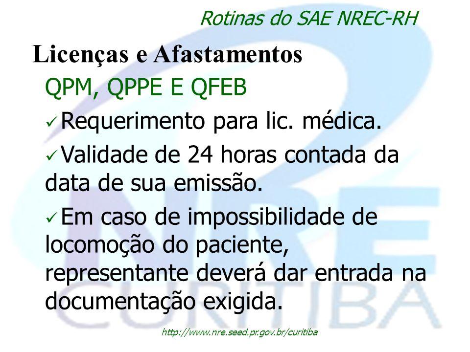 http://www.nre.seed.pr.gov.br/curitiba Rotinas do SAE NREC-RH Licenças e Afastamentos QPM, QPPE E QFEB Requerimento para lic. médica. Validade de 24 h