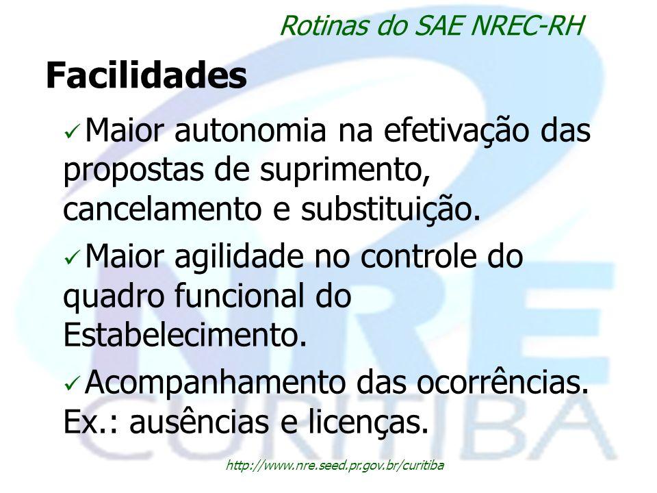 Facilidades http://www.nre.seed.pr.gov.br/curitiba Rotinas do SAE NREC-RH Maior autonomia na efetivação das propostas de suprimento, cancelamento e su