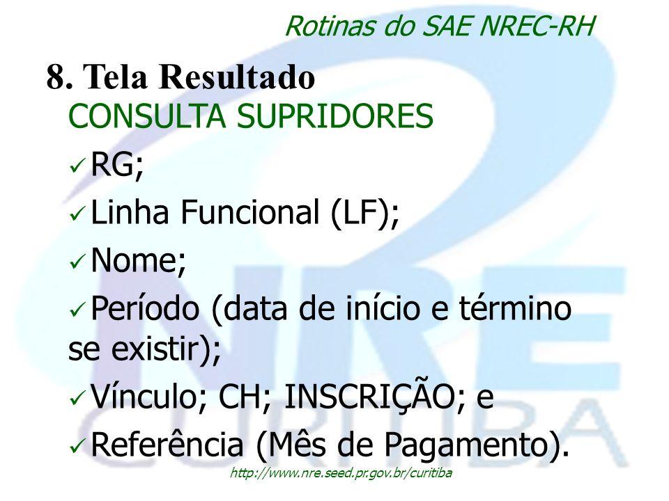 http://www.nre.seed.pr.gov.br/curitiba Rotinas do SAE NREC-RH 8. Tela Resultado CONSULTA SUPRIDORES RG; Linha Funcional (LF); Nome; Período (data de i