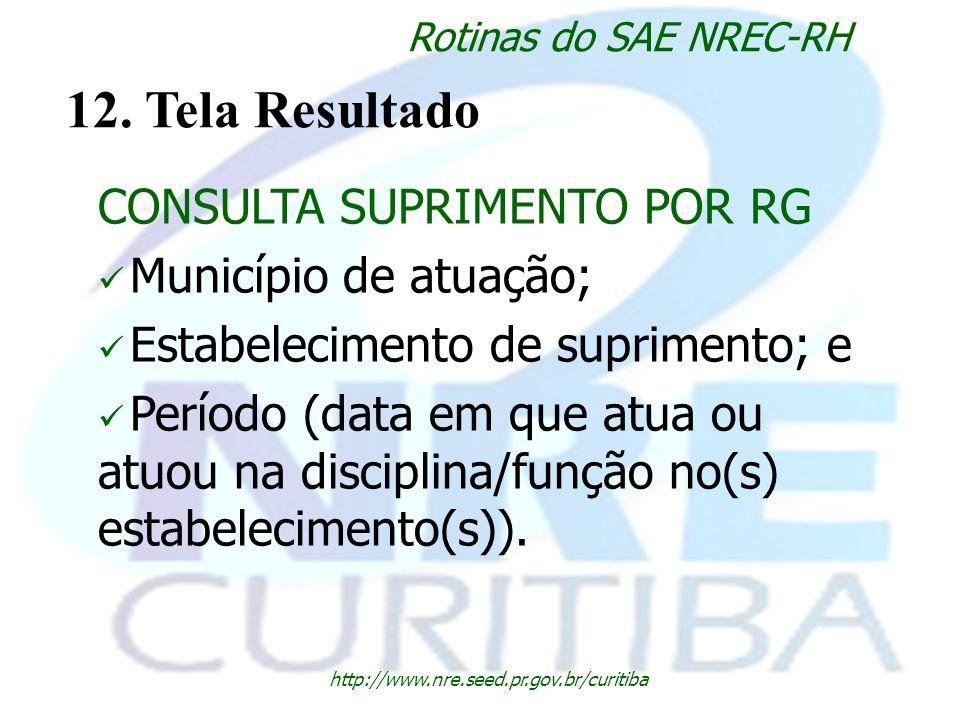 http://www.nre.seed.pr.gov.br/curitiba Rotinas do SAE NREC-RH 12. Tela Resultado CONSULTA SUPRIMENTO POR RG Município de atuação; Estabelecimento de s