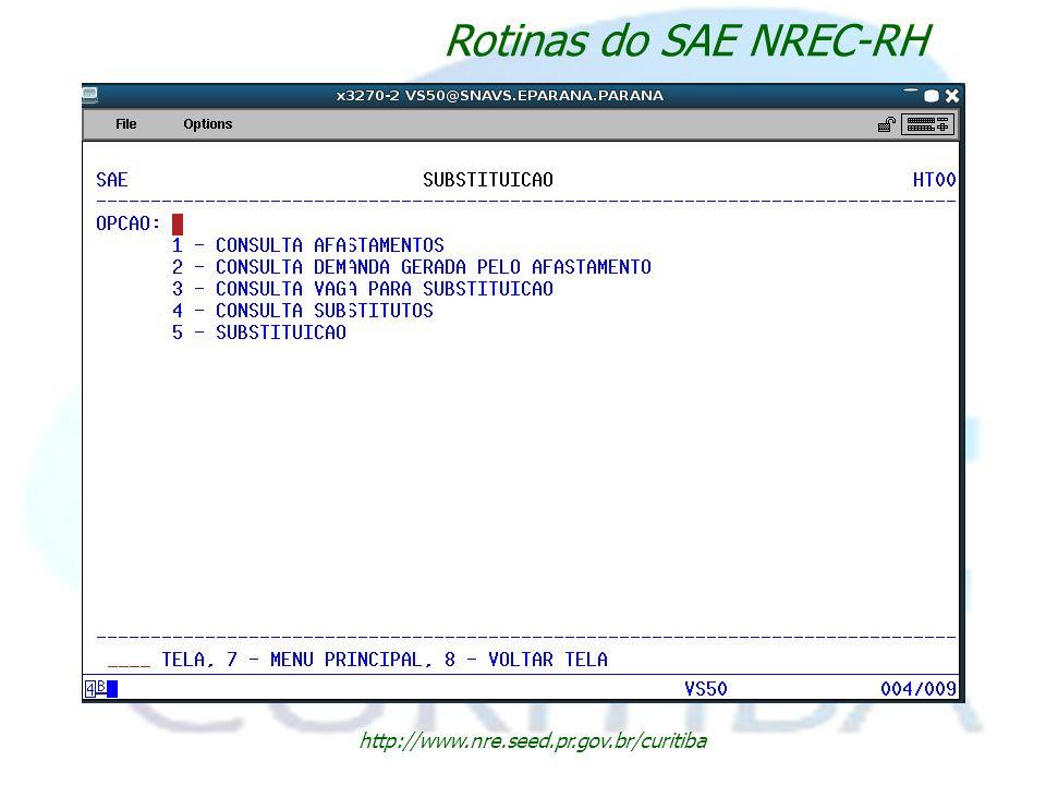 http://www.nre.seed.pr.gov.br/curitiba Rotinas do SAE NREC-RH