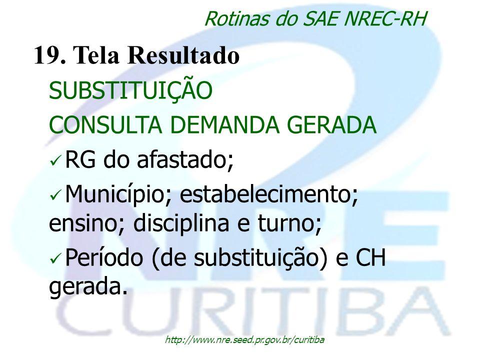 http://www.nre.seed.pr.gov.br/curitiba Rotinas do SAE NREC-RH 19. Tela Resultado SUBSTITUIÇÃO CONSULTA DEMANDA GERADA RG do afastado; Município; estab