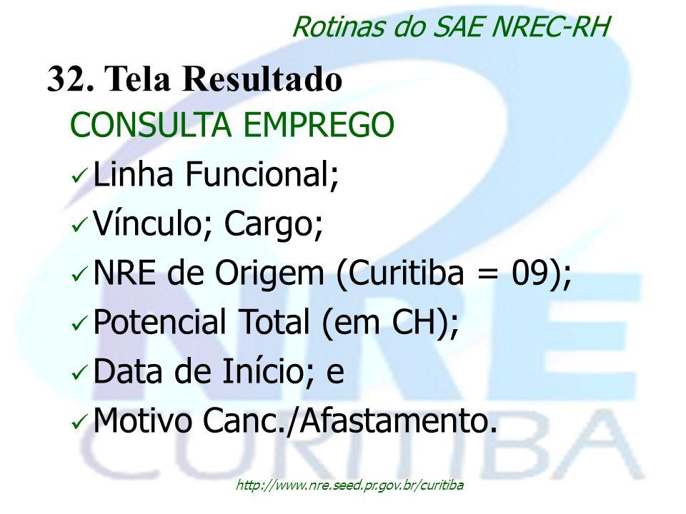 http://www.nre.seed.pr.gov.br/curitiba Rotinas do SAE NREC-RH 32. Tela Resultado CONSULTA EMPREGO Linha Funcional; Vínculo; Cargo; NRE de Origem (Curi