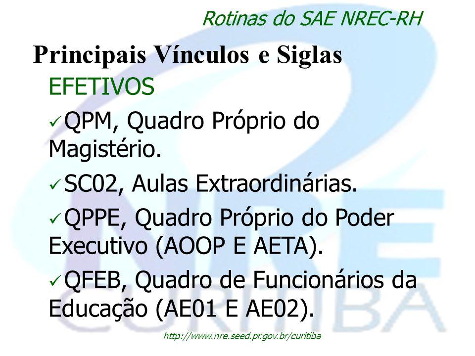 http://www.nre.seed.pr.gov.br/curitiba Rotinas do SAE NREC-RH Principais Vínculos e Siglas EFETIVOS QPM, Quadro Próprio do Magistério. SC02, Aulas Ext