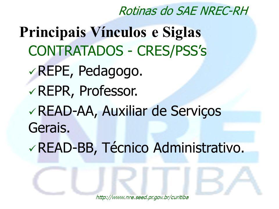 http://www.nre.seed.pr.gov.br/curitiba Rotinas do SAE NREC-RH Principais Vínculos e Siglas CONTRATADOS - CRES/PSSs REPE, Pedagogo. REPR, Professor. RE