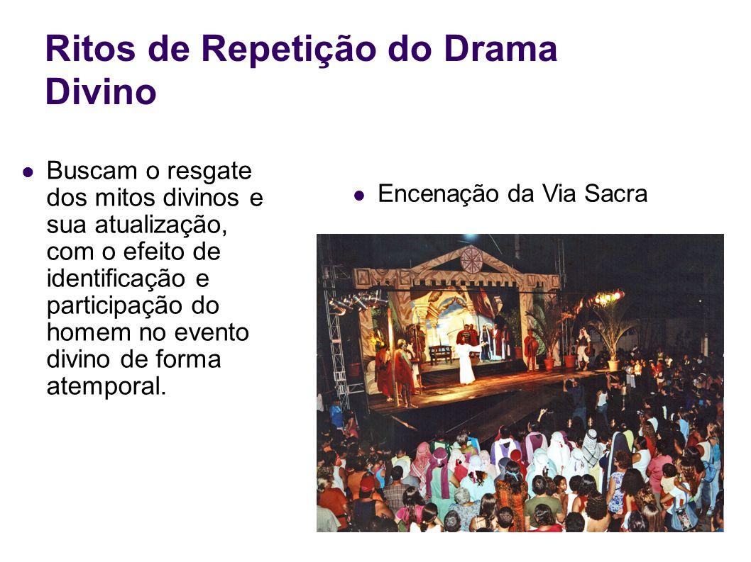 Ritos de Repetição do Drama Divino Buscam o resgate dos mitos divinos e sua atualização, com o efeito de identificação e participação do homem no even