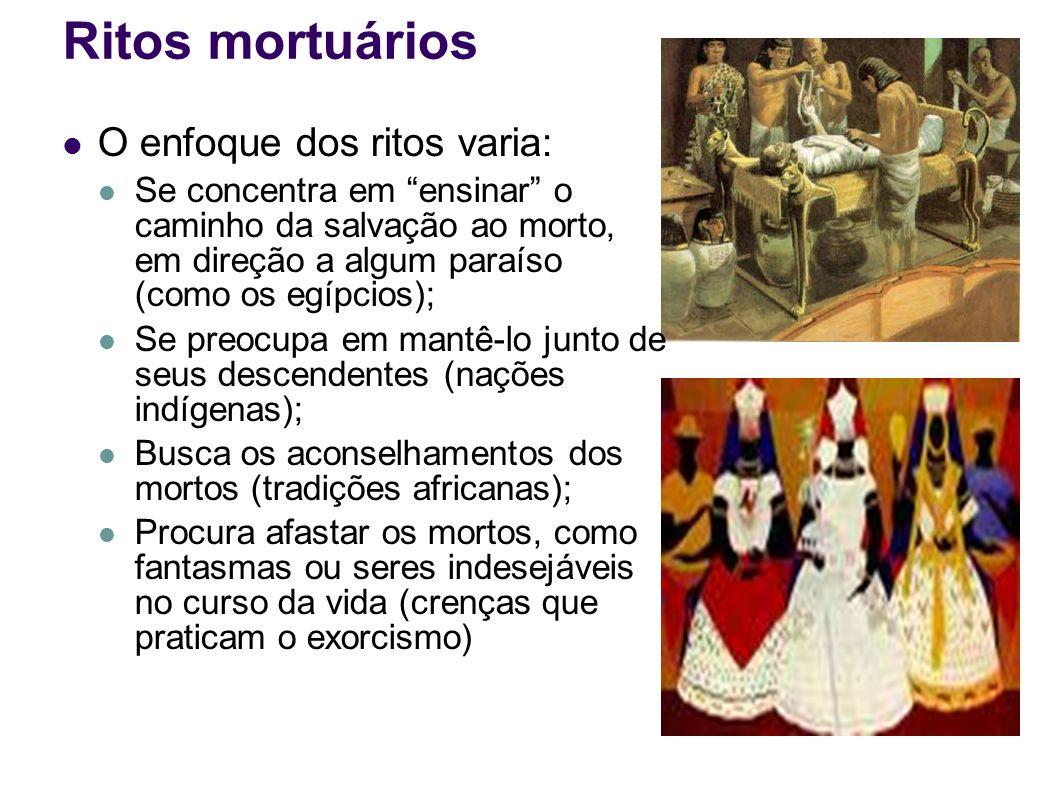 Ritos mortuários O enfoque dos ritos varia: Se concentra em ensinar o caminho da salvação ao morto, em direção a algum paraíso (como os egípcios); Se