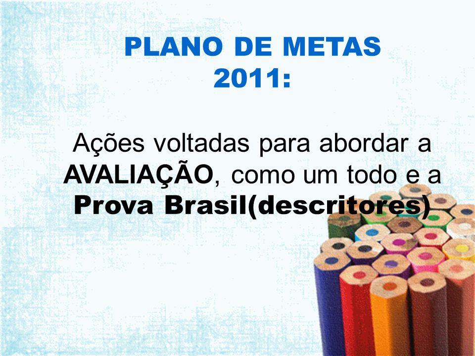 PLANO DE METAS 2011: Ações voltadas para abordar a AVALIAÇÃO, como um todo e a Prova Brasil(descritores)