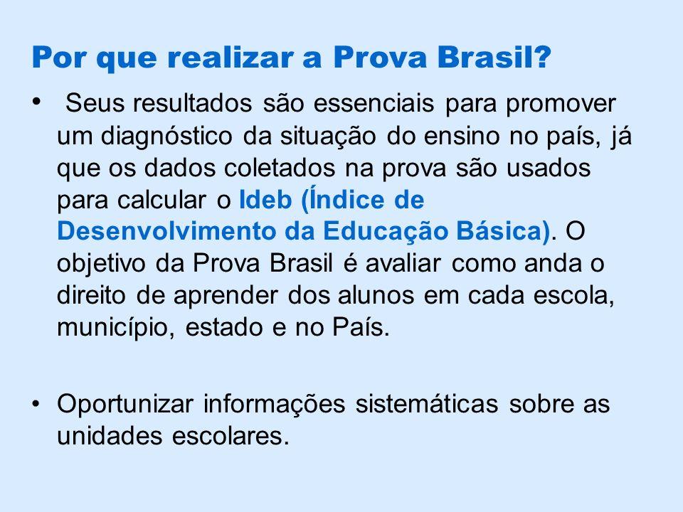 Por que realizar a Prova Brasil? Seus resultados são essenciais para promover um diagnóstico da situação do ensino no país, já que os dados coletados