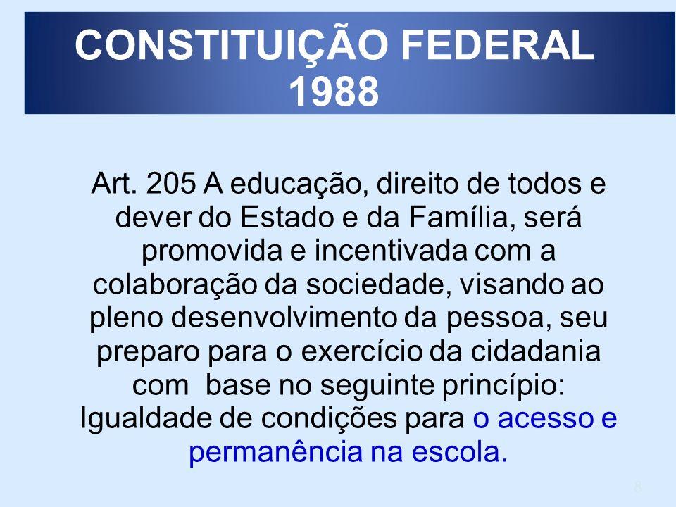 8 Art. 205 A educação, direito de todos e dever do Estado e da Família, será promovida e incentivada com a colaboração da sociedade, visando ao pleno