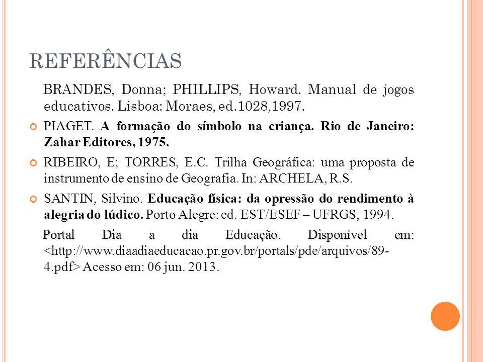 REFERÊNCIAS BRANDES, Donna; PHILLIPS, Howard. Manual de jogos educativos. Lisboa: Moraes, ed.1028,1997. PIAGET. A formação do símbolo na criança. Rio