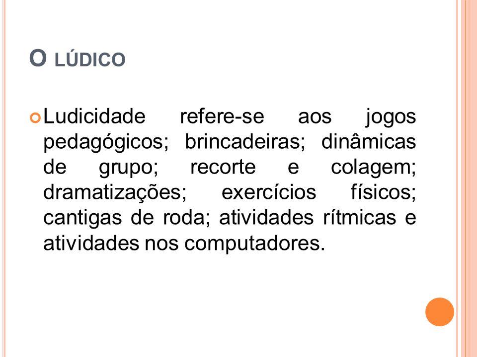 O LÚDICO Ludicidade refere-se aos jogos pedagógicos; brincadeiras; dinâmicas de grupo; recorte e colagem; dramatizações; exercícios físicos; cantigas