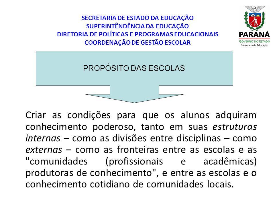 SECRETARIA DE ESTADO DA EDUCAÇÃO SUPERINTÊNDÊNCIA DA EDUCAÇÃO DIRETORIA DE POLÍTICAS E PROGRAMAS EDUCACIONAIS COORDENAÇÃO DE GESTÃO ESCOLAR PROPÓSITO