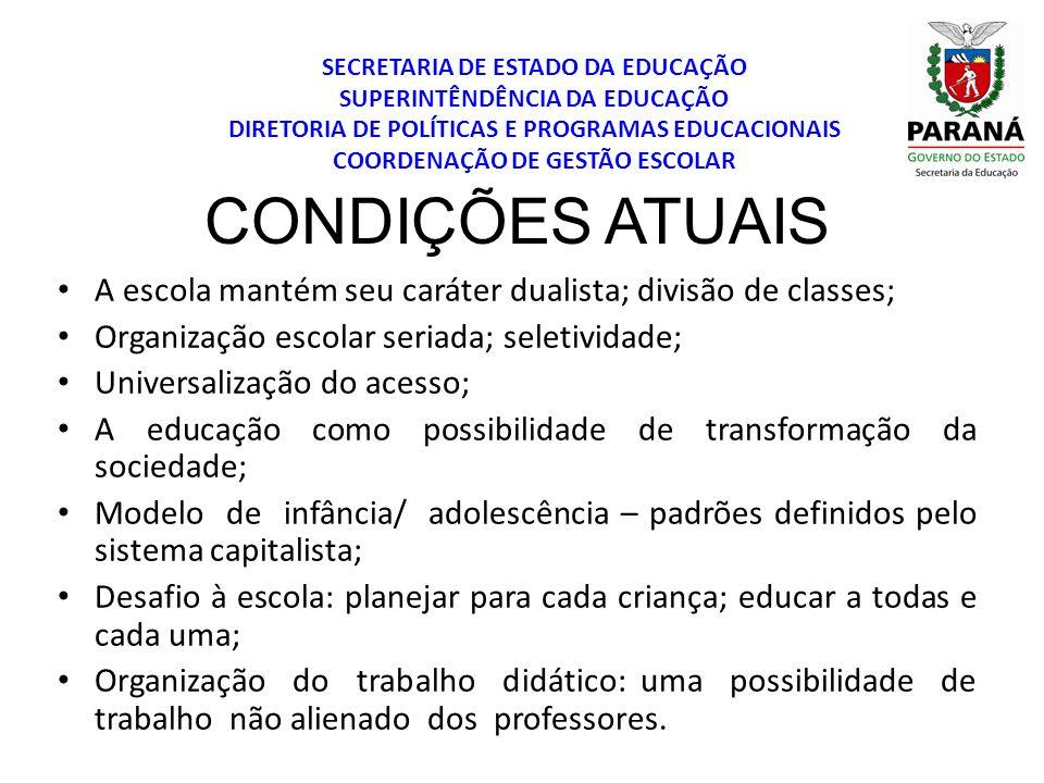 SECRETARIA DE ESTADO DA EDUCAÇÃO SUPERINTÊNDÊNCIA DA EDUCAÇÃO DIRETORIA DE POLÍTICAS E PROGRAMAS EDUCACIONAIS COORDENAÇÃO DE GESTÃO ESCOLAR CONDIÇÕES