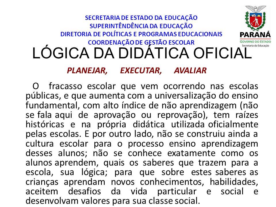 SECRETARIA DE ESTADO DA EDUCAÇÃO SUPERINTÊNDÊNCIA DA EDUCAÇÃO DIRETORIA DE POLÍTICAS E PROGRAMAS EDUCACIONAIS COORDENAÇÃO DE GESTÃO ESCOLAR LÓGICA DA