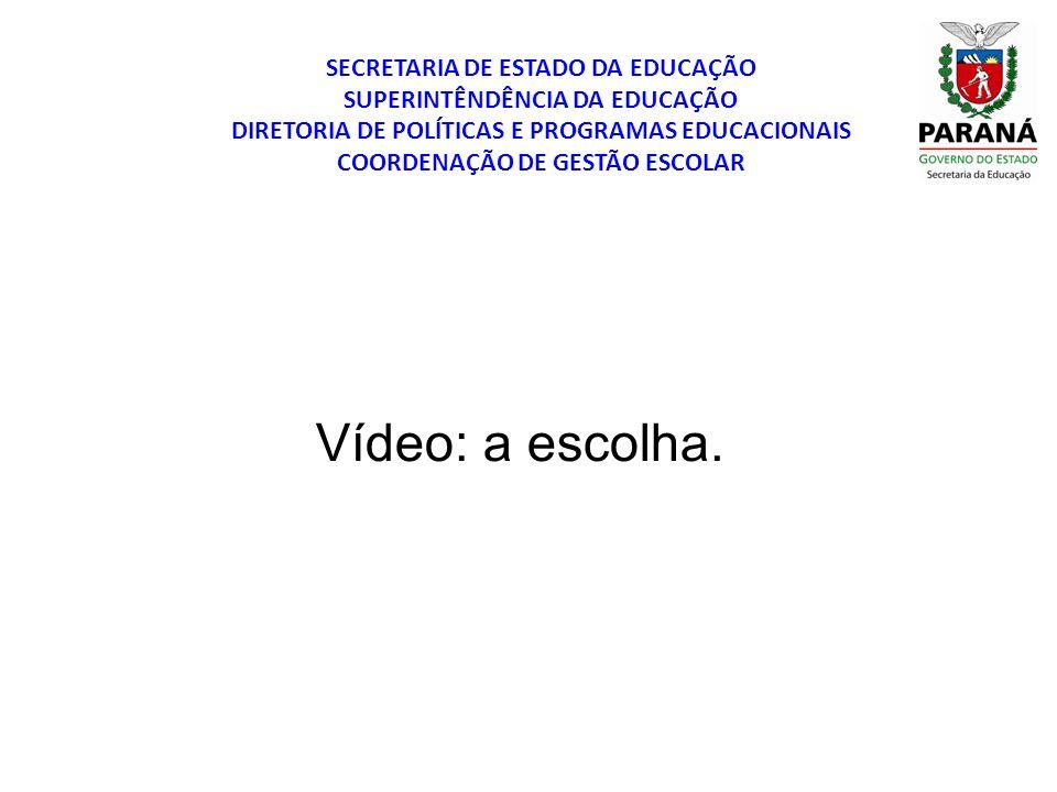 SECRETARIA DE ESTADO DA EDUCAÇÃO SUPERINTÊNDÊNCIA DA EDUCAÇÃO DIRETORIA DE POLÍTICAS E PROGRAMAS EDUCACIONAIS COORDENAÇÃO DE GESTÃO ESCOLAR Vídeo: a e