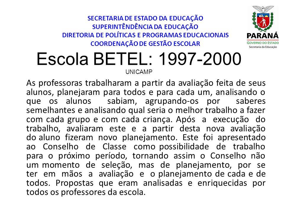 SECRETARIA DE ESTADO DA EDUCAÇÃO SUPERINTÊNDÊNCIA DA EDUCAÇÃO DIRETORIA DE POLÍTICAS E PROGRAMAS EDUCACIONAIS COORDENAÇÃO DE GESTÃO ESCOLAR Escola BET