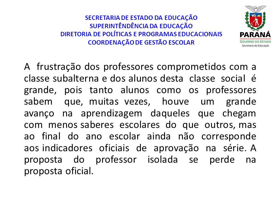 SECRETARIA DE ESTADO DA EDUCAÇÃO SUPERINTÊNDÊNCIA DA EDUCAÇÃO DIRETORIA DE POLÍTICAS E PROGRAMAS EDUCACIONAIS COORDENAÇÃO DE GESTÃO ESCOLAR A frustraç