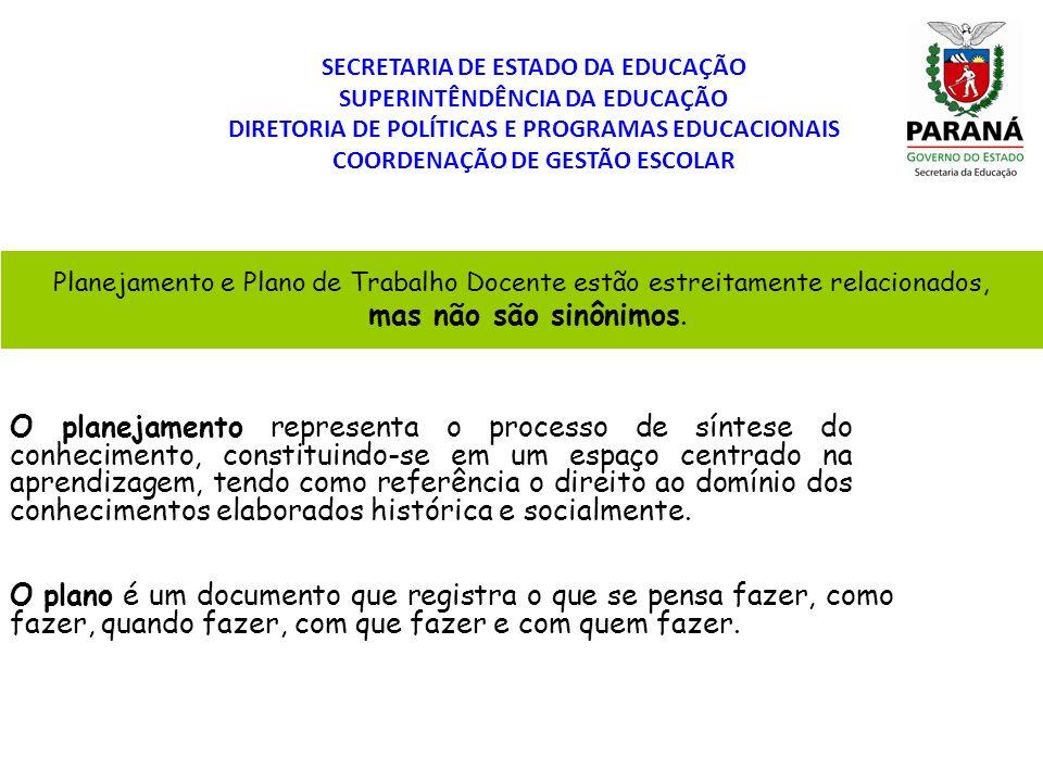 SECRETARIA DE ESTADO DA EDUCAÇÃO SUPERINTÊNDÊNCIA DA EDUCAÇÃO DIRETORIA DE POLÍTICAS E PROGRAMAS EDUCACIONAIS COORDENAÇÃO DE GESTÃO ESCOLAR Planejamen